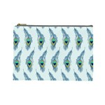 Background Of Beautiful Peacock Feathers Cosmetic Bag (Large)