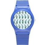 Background Of Beautiful Peacock Feathers Round Plastic Sport Watch (S)