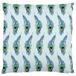 Background Of Beautiful Peacock Feathers Large Cushion Case (Two Sides)