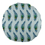 Background Of Beautiful Peacock Feathers Large 18  Premium Round Cushions