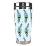 Background Of Beautiful Peacock Feathers Stainless Steel Travel Tumblers