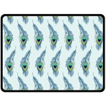 Background Of Beautiful Peacock Feathers Double Sided Fleece Blanket (Large)