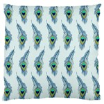 Background Of Beautiful Peacock Feathers Large Flano Cushion Case (One Side)