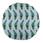 Background Of Beautiful Peacock Feathers Large 18  Premium Flano Round Cushions