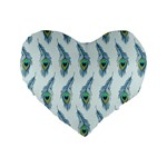 Background Of Beautiful Peacock Feathers Standard 16  Premium Flano Heart Shape Cushions