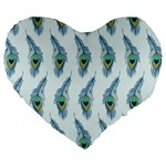 Background Of Beautiful Peacock Feathers Large 19  Premium Flano Heart Shape Cushions