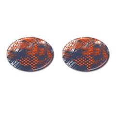 Dark Blue Red And White Messy Background Cufflinks (oval) by Nexatart