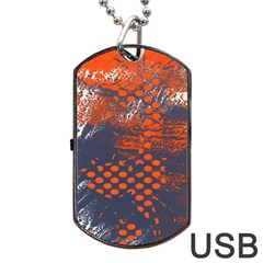 Dark Blue Red And White Messy Background Dog Tag Usb Flash (one Side) by Nexatart