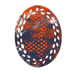 Dark Blue Red And White Messy Background Ornament (oval Filigree) by Nexatart