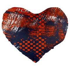Dark Blue Red And White Messy Background Large 19  Premium Heart Shape Cushions by Nexatart