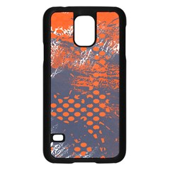 Dark Blue Red And White Messy Background Samsung Galaxy S5 Case (black) by Nexatart