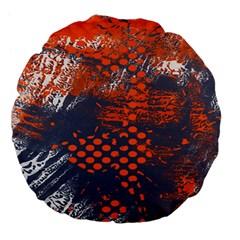 Dark Blue Red And White Messy Background Large 18  Premium Flano Round Cushions by Nexatart