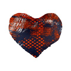 Dark Blue Red And White Messy Background Standard 16  Premium Flano Heart Shape Cushions by Nexatart