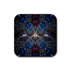 Fancy Fractal Pattern Background Accented With Pretty Colors Rubber Square Coaster (4 Pack)  by Nexatart