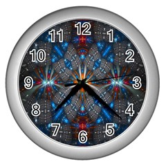 Fancy Fractal Pattern Background Accented With Pretty Colors Wall Clocks (silver)  by Nexatart