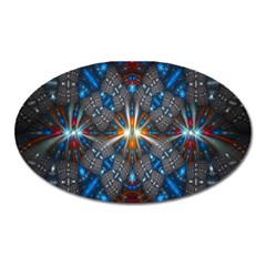 Fancy Fractal Pattern Background Accented With Pretty Colors Oval Magnet