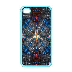 Fancy Fractal Pattern Background Accented With Pretty Colors Apple Iphone 4 Case (color) by Nexatart
