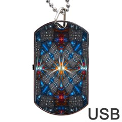 Fancy Fractal Pattern Background Accented With Pretty Colors Dog Tag Usb Flash (two Sides) by Nexatart