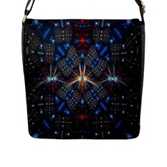 Fancy Fractal Pattern Background Accented With Pretty Colors Flap Messenger Bag (l)  by Nexatart