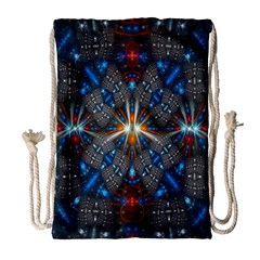 Fancy Fractal Pattern Background Accented With Pretty Colors Drawstring Bag (large) by Nexatart