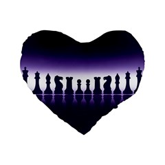 Chess Pieces Standard 16  Premium Flano Heart Shape Cushions by Valentinaart