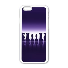 Chess Pieces Apple Iphone 6/6s White Enamel Case by Valentinaart