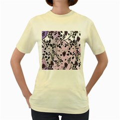 Floral Pattern Background Women s Yellow T Shirt