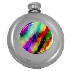 Colorful Abstract Paint Splats Background Round Hip Flask (5 Oz) by Nexatart