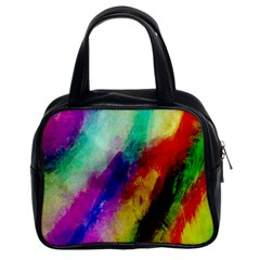 Colorful Abstract Paint Splats Background Classic Handbags (2 Sides)