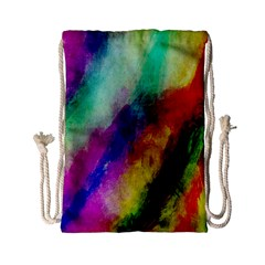 Colorful Abstract Paint Splats Background Drawstring Bag (small) by Nexatart