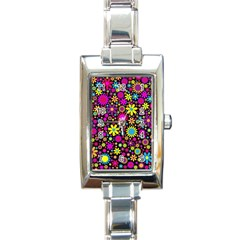 Bright And Busy Floral Wallpaper Background Rectangle Italian Charm Watch by Nexatart