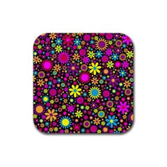 Bright And Busy Floral Wallpaper Background Rubber Square Coaster (4 Pack)  by Nexatart