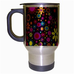 Bright And Busy Floral Wallpaper Background Travel Mug (silver Gray) by Nexatart