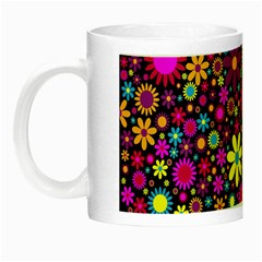 Bright And Busy Floral Wallpaper Background Night Luminous Mugs by Nexatart