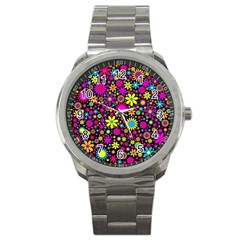 Bright And Busy Floral Wallpaper Background Sport Metal Watch by Nexatart