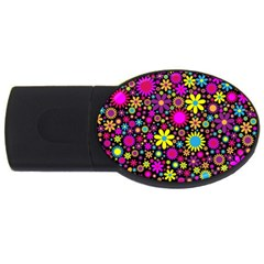 Bright And Busy Floral Wallpaper Background Usb Flash Drive Oval (4 Gb) by Nexatart