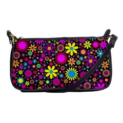 Bright And Busy Floral Wallpaper Background Shoulder Clutch Bags by Nexatart