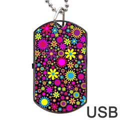Bright And Busy Floral Wallpaper Background Dog Tag Usb Flash (one Side) by Nexatart