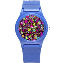 Bright And Busy Floral Wallpaper Background Round Plastic Sport Watch (s) by Nexatart