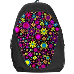 Bright And Busy Floral Wallpaper Background Backpack Bag by Nexatart