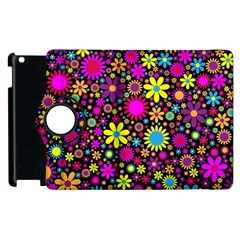 Bright And Busy Floral Wallpaper Background Apple Ipad 2 Flip 360 Case by Nexatart