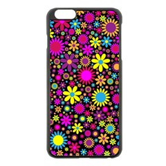 Bright And Busy Floral Wallpaper Background Apple Iphone 6 Plus/6s Plus Black Enamel Case by Nexatart