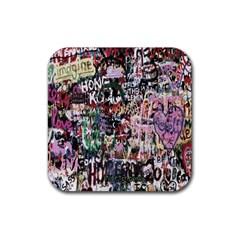 Graffiti Wall Pattern Background Rubber Square Coaster (4 Pack)  by Nexatart