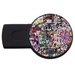Graffiti Wall Pattern Background Usb Flash Drive Round (2 Gb) by Nexatart