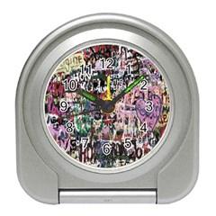 Graffiti Wall Pattern Background Travel Alarm Clocks by Nexatart