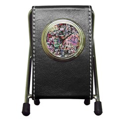 Graffiti Wall Pattern Background Pen Holder Desk Clocks by Nexatart