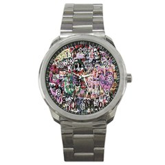 Graffiti Wall Pattern Background Sport Metal Watch by Nexatart