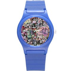 Graffiti Wall Pattern Background Round Plastic Sport Watch (s) by Nexatart