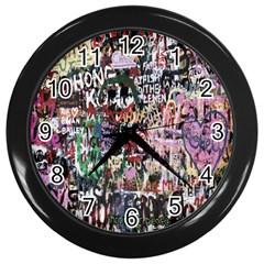 Graffiti Wall Pattern Background Wall Clocks (black) by Nexatart