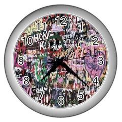 Graffiti Wall Pattern Background Wall Clocks (silver)  by Nexatart